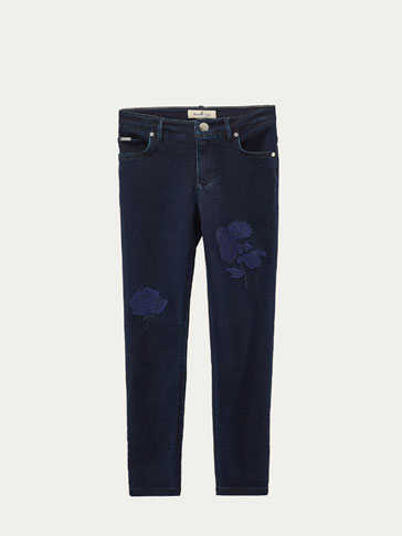 DENIM BROEK MET BORDUURSEL SLIM FIT