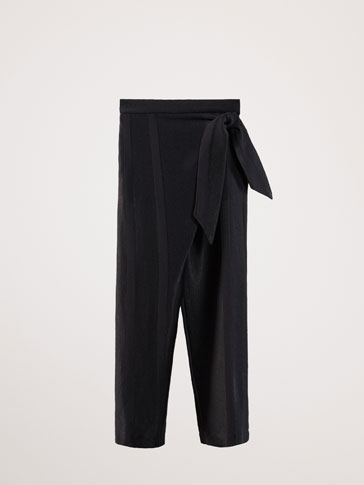 TIE DETAIL FLOWING TROUSERS