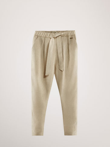 LINEN TROUSERS WITH TIE DETAIL