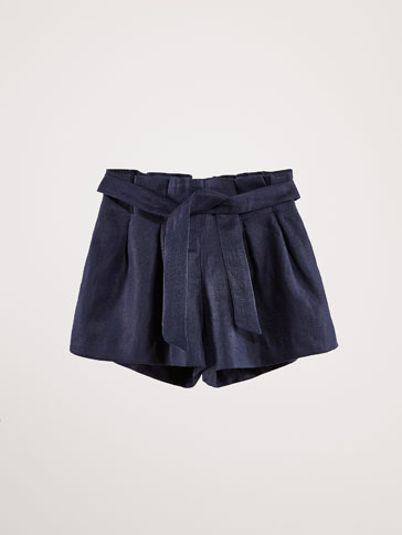 LINEN BERMUDA SHORTS WITH TIE DETAIL