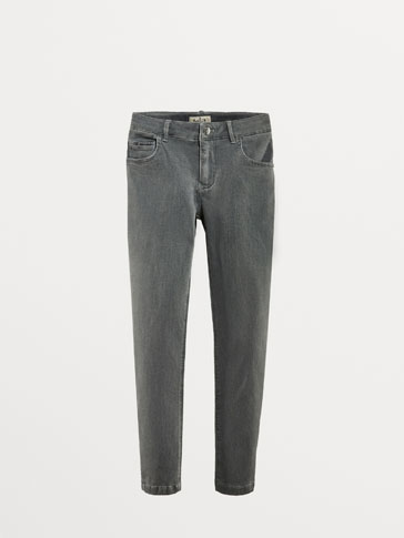 GREY, SLIM FIT JEANS WITH VELVET DETAILS