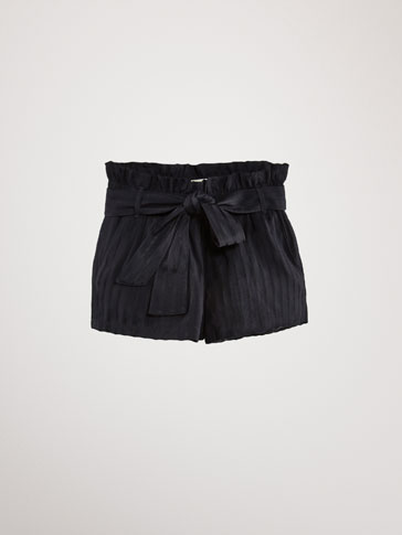 STRIPED TEXTURED WEAVE BERMUDA SHORTS WITH TIE DETAIL