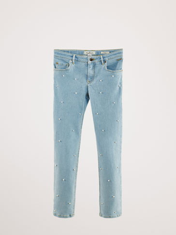 SLIM FIT JEANS WITH PEARL BEADS
