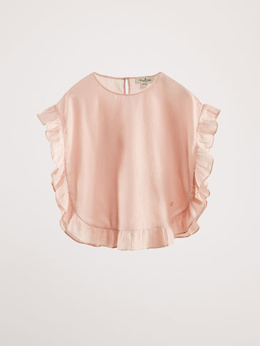 CAPE-STYLE BLOUSE WITH RUFFLE DETAIL
