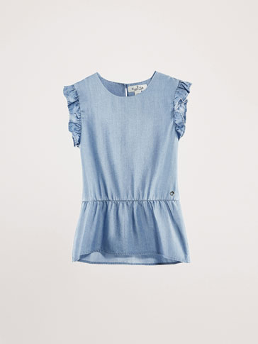 DENIM LYOCELL TOP WITH RUFFLES
