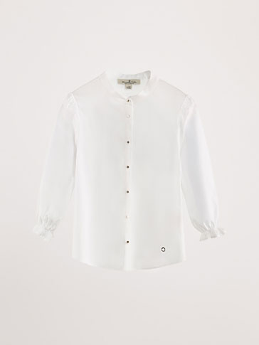 PLAIN COTTON SHIRT WITH RUFFLE DETAIL