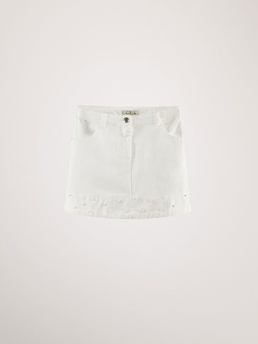 COTTON DENIM SKIRT WITH PEARL BEADS