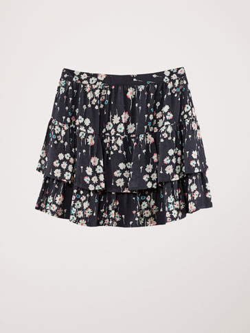 FLORAL PRINT SKIRT WITH RUFFLES