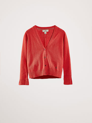 COTTON/CASHMERE CARDIGAN WITH FLARED DETAIL