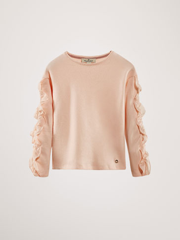 CONTRASTING SWEATSHIRT WITH RUFFLE DETAIL