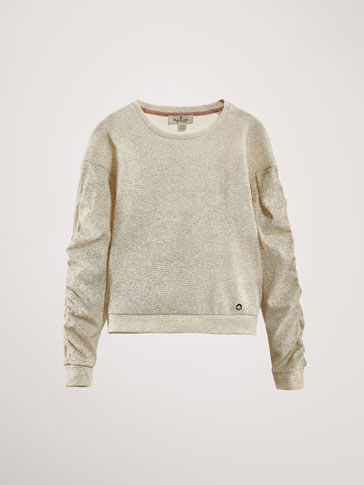 TEXTURED WEAVE SWEATSHIRT WITH GATHERED DETAIL