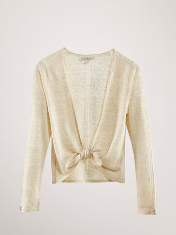 LINEN CARDIGAN WITH OPEN KNIT DETAIL