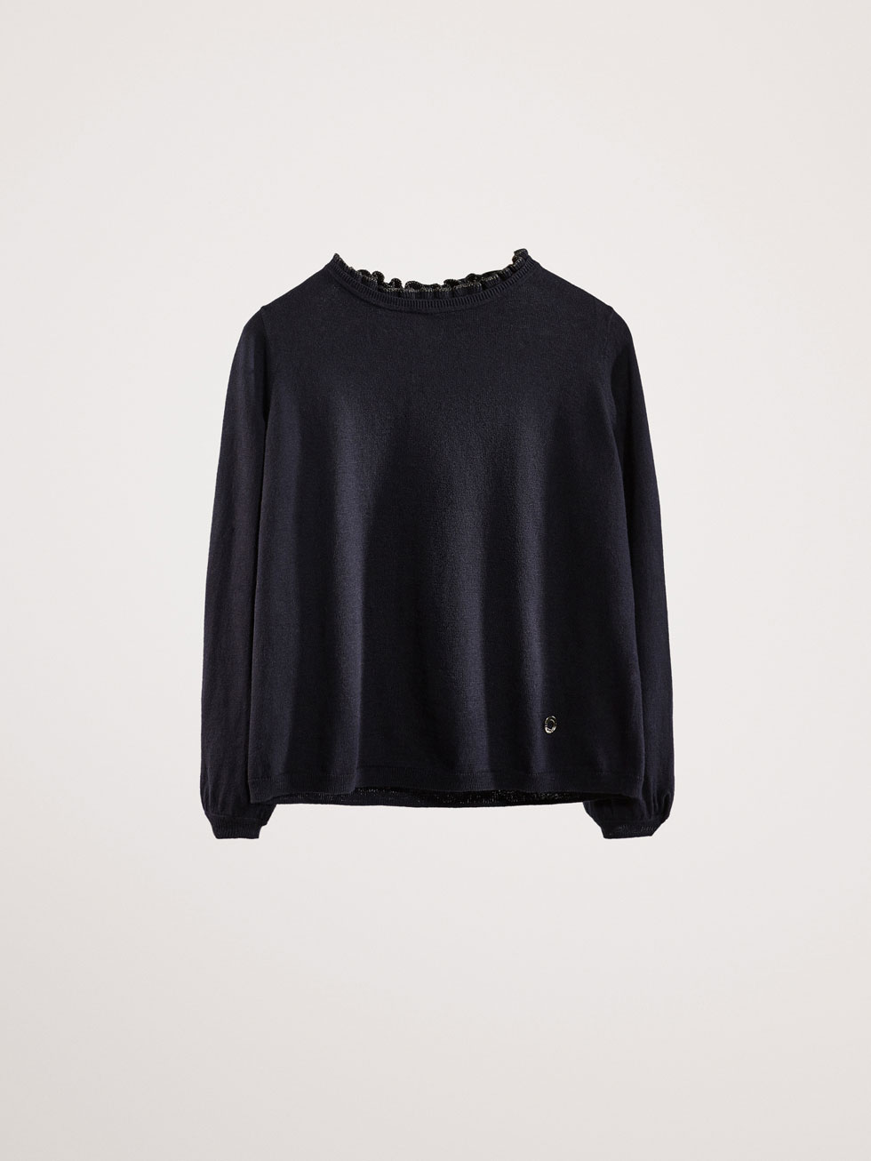 Cotton/Cashmere Sweater With Ruffle Detail by Massimo Dutti