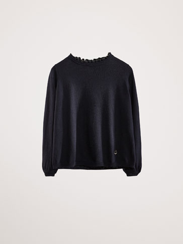 COTTON/CASHMERE SWEATER WITH RUFFLE DETAIL