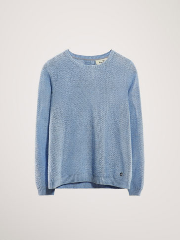 COTTON TEXTURED-WEAVE SWEATER WITH SHIMMERY DETAILS
