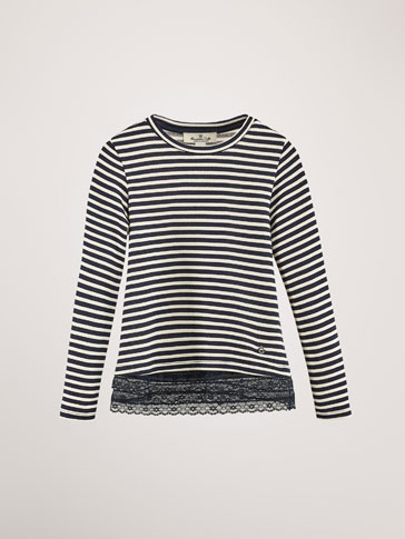 STRIPED SWEATSHIRT WITH LACE DETAIL