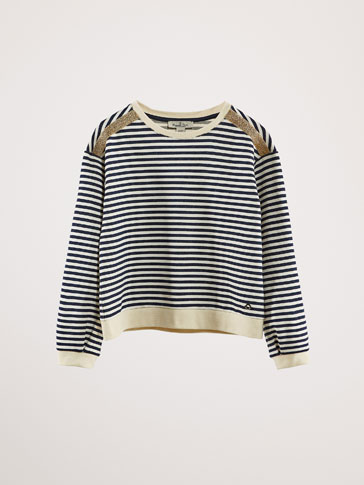STRIPED COTTON SWEATSHIRT WITH SHIMMER DETAILS