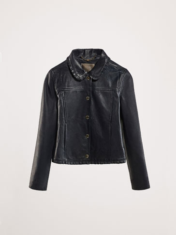 NAVY BLUE LEATHER JACKET WITH RUFFLE DETAIL
