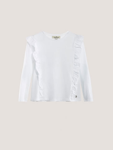 CONTRAST T-SHIRT WITH FRILLS DETAIL