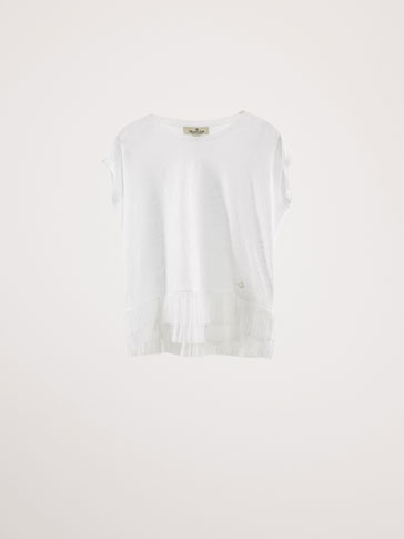 LINEN T-SHIRT WITH TULLE DETAIL