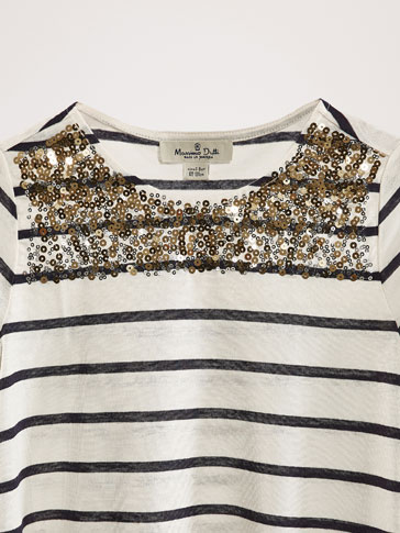 STRIPED T-SHIRT WITH SEQUIN DETAIL