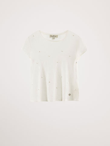 LINEN T-SHIRT WITH PEARL BEADS