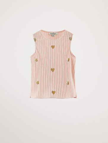 COTTON T-SHIRT WITH METALLIC HEARTS