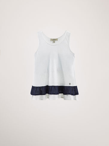 TWO-TONE LINEN T-SHIRT WITH RUFFLE DETAIL