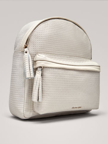 TEXTURED WEAVE LEATHER BACKPACK