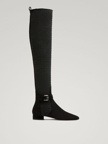 TALL BLACK FABRIC BOOTS