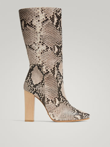 ANIMAL PRINT LEATHER HIGH-HEEL BOOTS