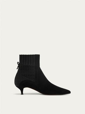 BLACK MID-HEEL ANKLE BOOTS