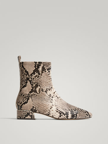 ANIMAL PRINT NAPPA LEATHER ANKLE BOOTS