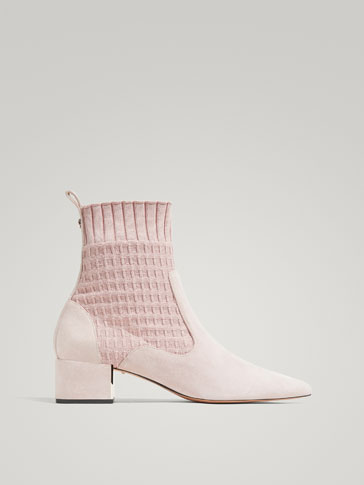 NUDE FABRIC ANKLE BOOTS