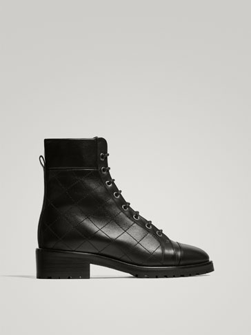 BLACK LEATHER MOUNTAIN ANKLE BOOTS