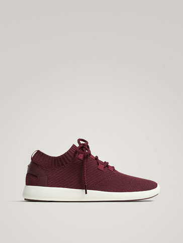 BURGUNDY FABRIC SNEAKERS