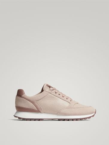حذاء رياضي جلدي ممزوج لون لحمي