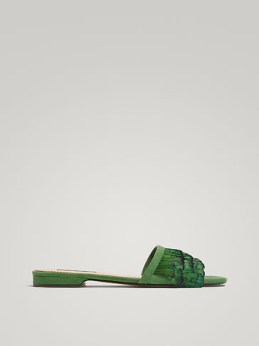GREEN LEATHER SANDALS WITH FEATHER TRIMS