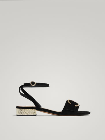 BLACK LEATHER SANDALS WITH A SUEDE FINISH