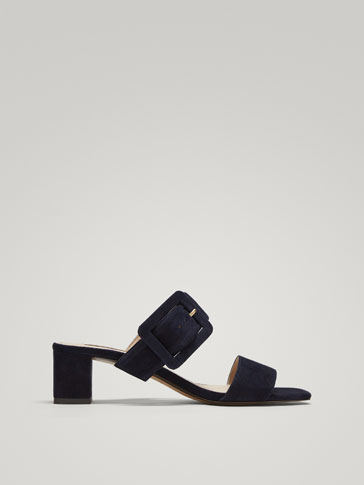 BLUE SUEDE LEATHER SLINGBACK SHOES WITH BUCKLE