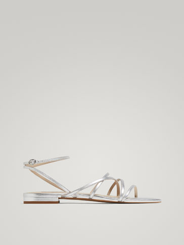 LAMINATED SILVER LEATHER SANDALS