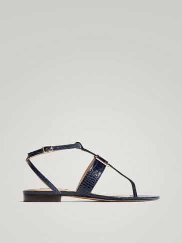 BLUE MOCK CROC LEATHER SANDALS