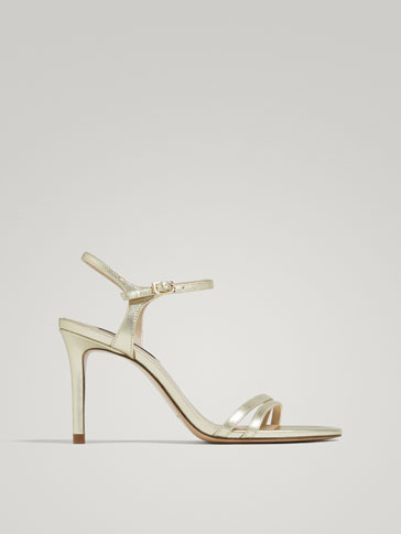 LAMINATED GOLD LEATHER HIGH-HEEL SANDALS