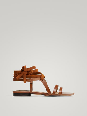 MULTI-STRAP TAN LEATHER SANDALS