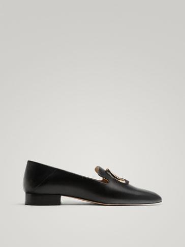 حذاء موكاسين جلد حلقة أسود