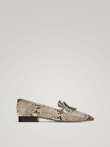 حذاء موكاسين جلد حلقة طبعة حيوانية
