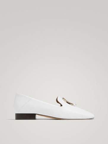 WHITE LEATHER LOAFERS WITH RING DETAIL