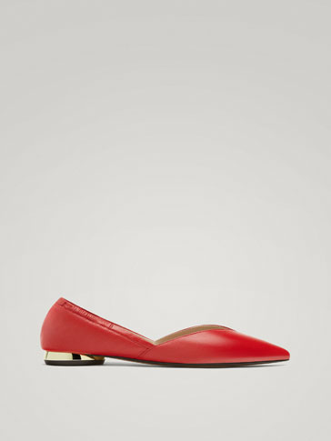 POINTED RED LEATHER BALLERINAS