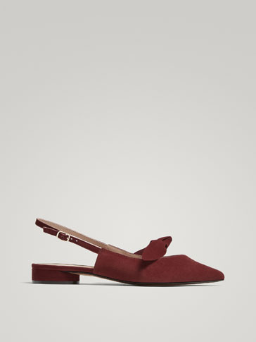BURGUNDY SUEDE SLINGBACK BALLERINAS WITH FEATHER DETAIL