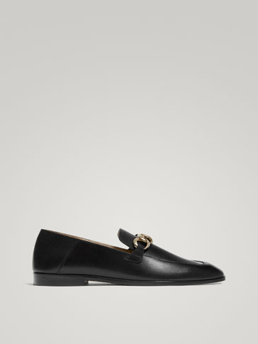 BLACK NAPPA LOAFERS WITH CHAIN DETAIL